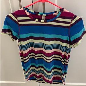 A striped Ivivva t-shirt